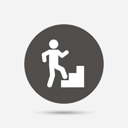 upstairs: Upstairs icon. Human walking on ladder sign. Gray circle button with icon. Vector Illustration