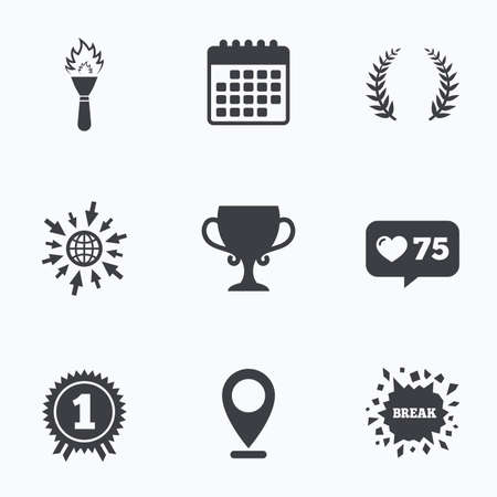 flame like: Calendar, like counter and go to web icons. First place award cup icons. Laurel wreath sign. Torch fire flame symbol. Prize for winner. Location pointer. Illustration