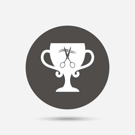 cut hair: Scissors cut hair sign icon. Hairdresser or barbershop symbol. Winner award cup. Gray circle button with icon. Vector Illustration