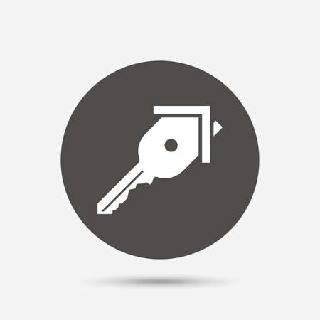 home owner: Key from the house sign icon. Unlock tool symbol. Gray circle button with icon. Vector Illustration