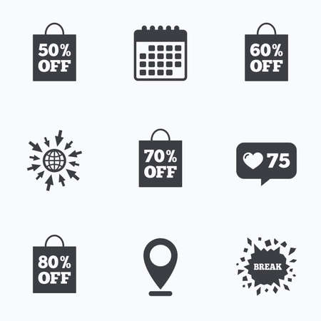 50 to 60: Calendar, like counter and go to web icons. Sale bag tag icons. Discount special offer symbols. 50%, 60%, 70% and 80% percent off signs. Location pointer.