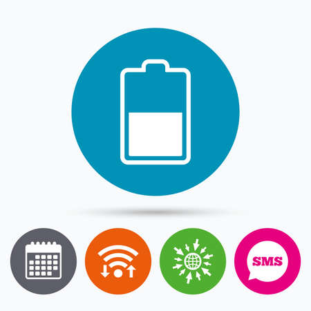 half globe: Wifi, Sms and calendar icons. Battery half level sign icon. Low electricity symbol. Go to web globe.