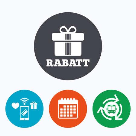 Rabatt - Rabatte auf Deutsch Zeichen-Symbol. Geschenk-Box mit Bändern Symbol. Mobile Payment, Kalender und Wi-Fi-Icons. Bus-Shuttle. Standard-Bild - 57763985