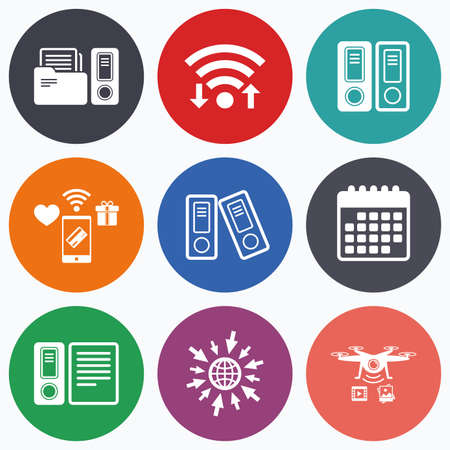 Wifi, mobile payments and drones icons. Accounting icons. Document storage in folders sign symbols. Calendar symbol.
