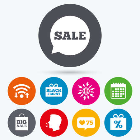 talk big: Wifi, like counter and calendar icons. Sale speech bubble icon. Black friday gift box symbol. Big sale shopping bag. Discount percent sign. Human talk, go to web.