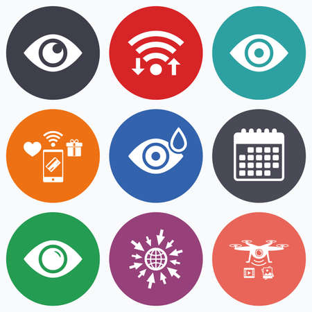 red eye: Wifi, mobile payments and drones icons. Eye icons. Water drops in the eye symbols. Red eye effect signs. Calendar symbol.