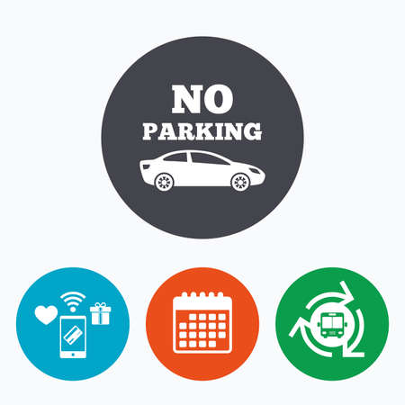 bus parking: No parking sign icon. Private territory symbol. Mobile payments, calendar and wifi icons. Bus shuttle.