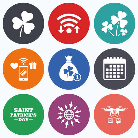 feast of saint patrick: Wifi, mobile payments and drones icons. Saint Patrick day icons. Money bag with clover and coin sign. Trefoil shamrock clover. Symbol of good luck. Calendar symbol. Illustration