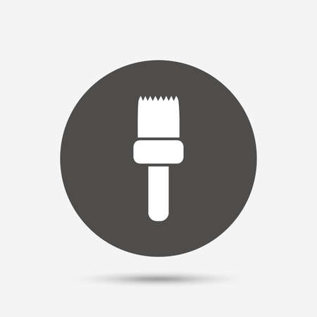 painter decorator: Paint brush sign icon. Artist symbol. Gray circle button with icon. Vector