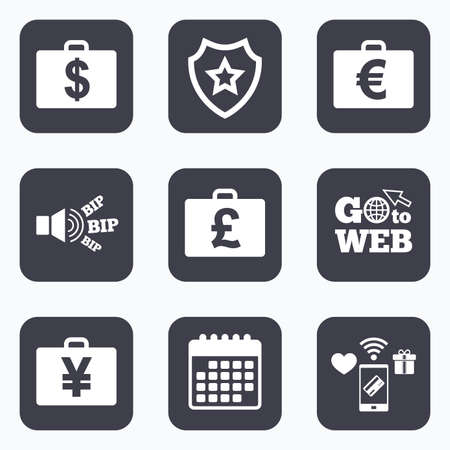 diplomat: Mobile payments, wifi and calendar icons. Businessman case icons. Cash money diplomat signs. Dollar, euro and pound symbols. Go to web symbol.