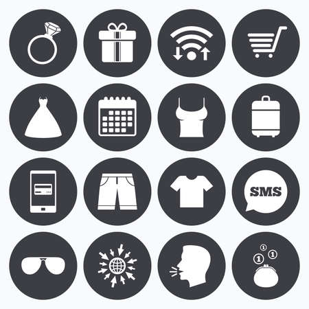 mobile accessories: Wifi, calendar and mobile payments. Clothes, accessories icons. T-shirt, sunglasses signs. Wedding dress and ring symbols. Sms speech bubble, go to web symbols. Illustration