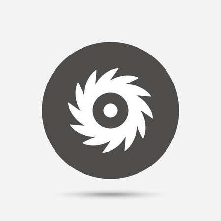 cutting blade: Saw circular wheel sign icon. Cutting blade symbol. Gray circle button with icon. Vector