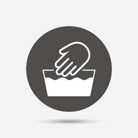 washable: Hand wash sign icon. Not machine washable symbol. Gray circle button with icon. Vector