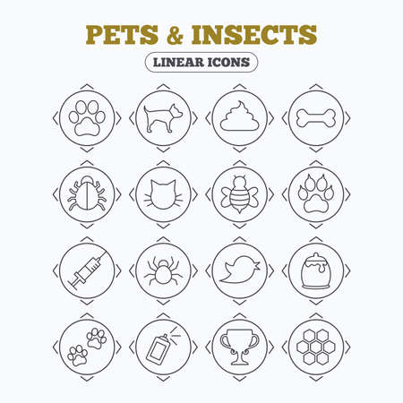 feces: Linear icons with direction arrows. Pets and Insects icons. Dog paw. Cat paw with clutches. Bone, feces excrement and vaccination. Honey, bee and honey comb. Circle buttons. Illustration