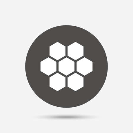 beeswax: Honeycomb sign icon. Honey cells symbol. Sweet natural food. Gray circle button with icon. Vector