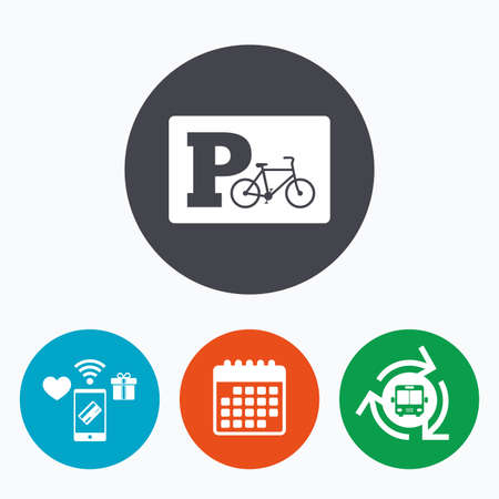 bus parking: Parking sign icon. Bicycle parking symbol. Mobile payments, calendar and wifi icons. Bus shuttle.