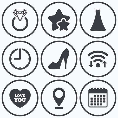 fiance: Clock, wifi and stars icons. Wedding dress icon. Womens shoe and love heart symbols. Wedding or engagement day ring with diamond sign. Calendar symbol. Illustration