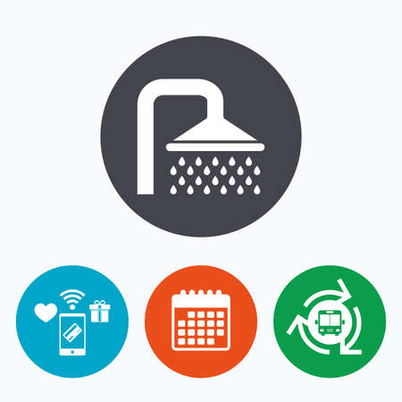 washstand: Shower sign icon. Douche with water drops symbol. Mobile payments, calendar and wifi icons. Bus shuttle. Illustration