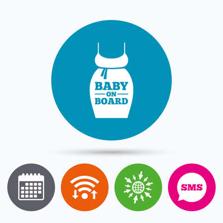 big breast: Wifi, Sms and calendar icons. Pregnant woman dress sign icon. Baby on board. Maternity clothing symbol Go to web globe. Illustration