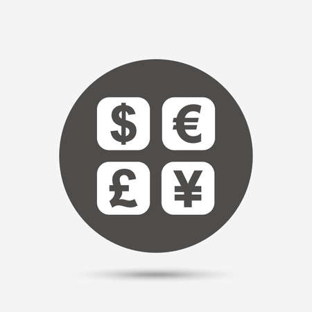 converter: Currency exchange sign icon. Currency converter symbol. Money label. Gray circle button with icon. Vector