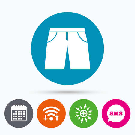 bermuda: Wifi, Sms and calendar icons. Mens Bermuda shorts sign icon. Clothing symbol. Go to web globe.