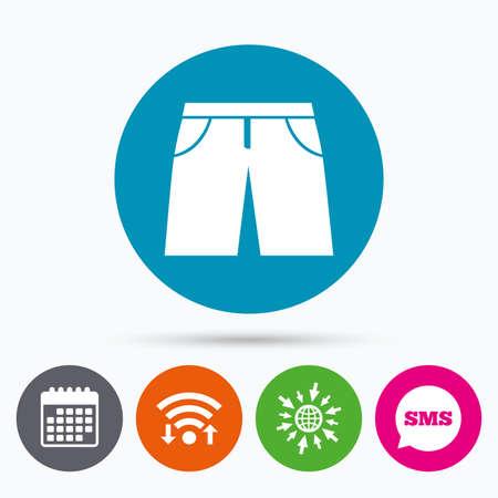 beachwear: Wifi, Sms and calendar icons. Mens Bermuda shorts sign icon. Clothing symbol. Go to web globe.