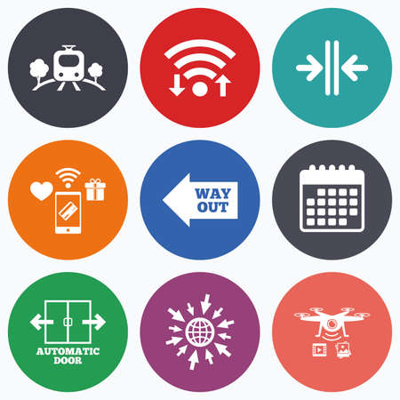way out: Wifi, mobile payments and drones icons. Train railway icon. Overground transport. Automatic door symbol. Way out arrow sign. Calendar symbol.