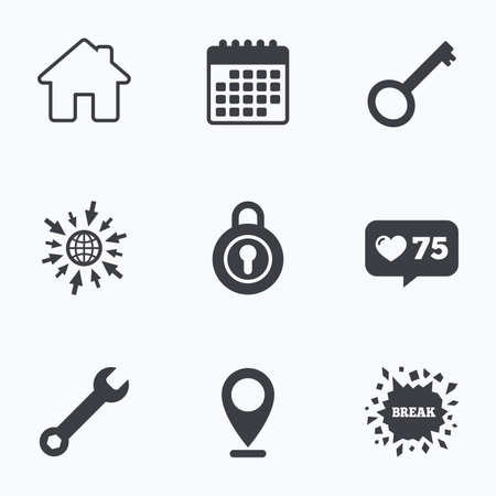 counter service: Calendar, like counter and go to web icons. Home key icon. Wrench service tool symbol. Locker sign. Main page web navigation. Location pointer. Illustration