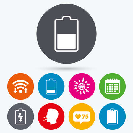 electrochemical: Wifi, like counter and calendar icons. Battery charging icons. Electricity signs symbols. Charge levels: full, half and low. Human talk, go to web.