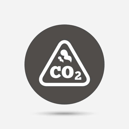 co2: CO2 carbon dioxide formula sign icon. Chemistry symbol. Gray circle button with icon. Vector Illustration