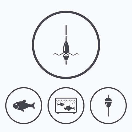 fishing bobber: Fishing icons. Fish with fishermen hook sign. Float bobber symbol. Aquarium icon. Icons in circles. Illustration