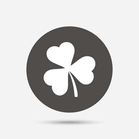 trefoil: Clover with three leaves sign icon. Trifoliate clover. Saint Patrick trefoil symbol. Gray circle button with icon. Vector