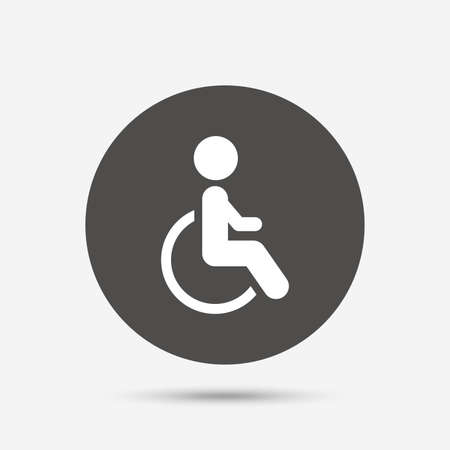 invalid: Disabled sign icon. Human on wheelchair symbol. Handicapped invalid sign. Gray circle button with icon. Vector Illustration