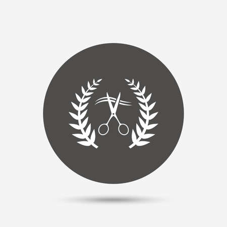 gray hair: Scissors cut hair sign icon. Hairdresser or barbershop laurel wreath symbol. Winner award. Gray circle button with icon. Vector Illustration