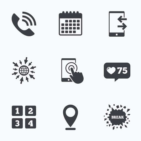 outcoming: Calendar, like counter and go to web icons. Phone icons. Touch screen smartphone sign. Call center support symbol. Cellphone keyboard symbol. Incoming and outcoming calls. Location pointer. Illustration