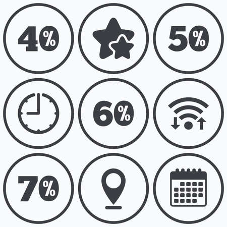 40 50: Clock, wifi and stars icons. Sale discount icons. Special offer price signs. 40, 50, 60 and 70 percent off reduction symbols. Calendar symbol. Illustration