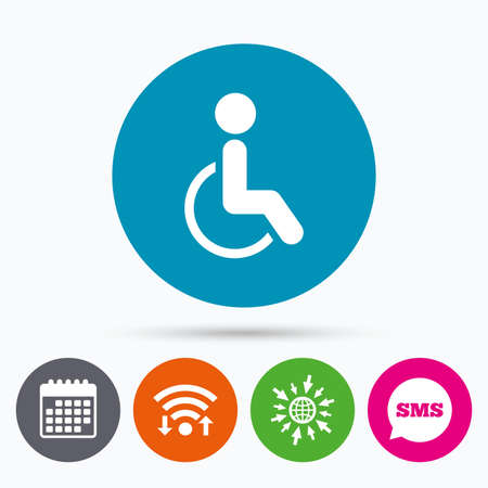 invalid: Wifi, Sms and calendar icons. Disabled sign icon. Human on wheelchair symbol. Handicapped invalid sign. Go to web globe. Illustration
