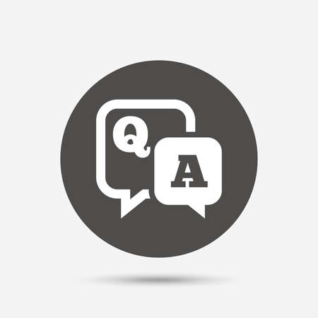 issue: Question answer sign icon. Q&A symbol. Gray circle button with icon. Vector Illustration