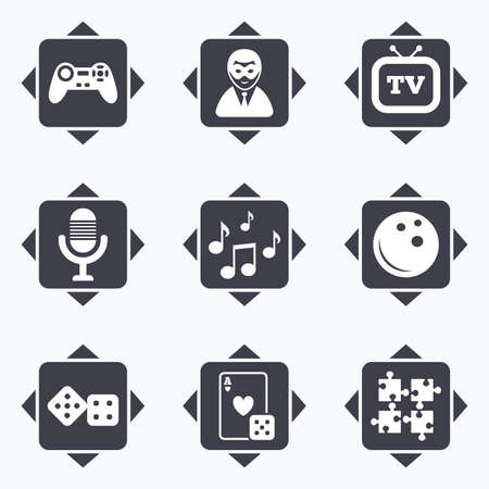 puzzle corners: Icons with direction arrows. Entertainment icons. Game, bowling and puzzle signs. Casino, carnival and musical note symbols. Square buttons. Illustration
