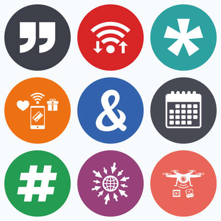 token: Wifi, mobile payments and drones icons. Quote, asterisk footnote icons. Hashtag social media and ampersand symbols. Programming logical operator AND sign. Calendar symbol.