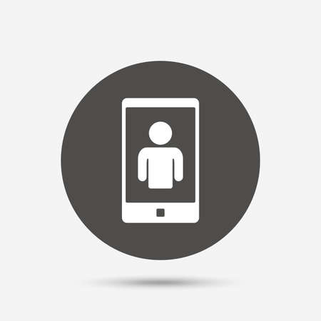 video call: Video call sign icon. Smartphone symbol. Gray circle button with icon. Vector