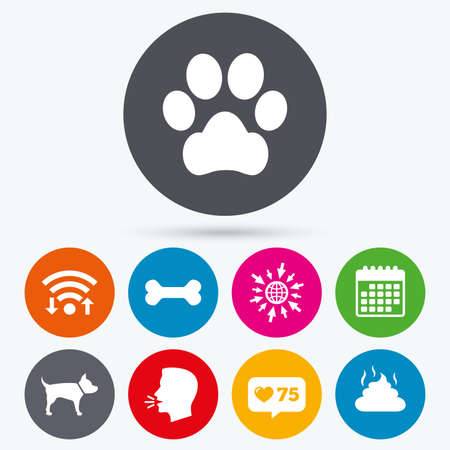 feces: Wifi, like counter and calendar icons. Pets icons. Dog paw and feces signs. Clean up after pets. Pets food. Human talk, go to web.