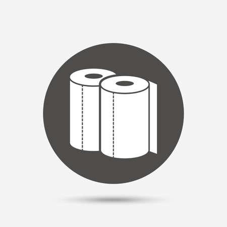 Ręczniki papierowe podpisania ikony. Kuchnia symbol rolki. Szary przycisk z ikoną koła. Wektor