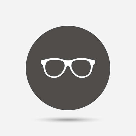 eyeglass: Retro glasses sign icon. Eyeglass frame symbol. Gray circle button with icon. Vector Illustration