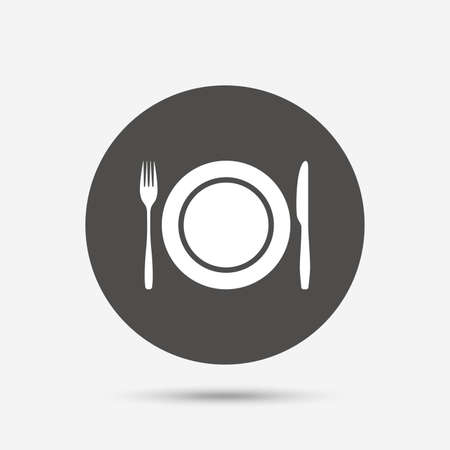etiquette: Plate dish with fork and knife. Eat sign icon. Cutlery etiquette rules symbol. Gray circle button with icon. Vector