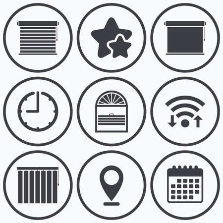 jalousie: Clock, wifi and stars icons. Louvers icons. Plisse, rolls, vertical and horizontal. Window blinds or jalousie symbols. Calendar symbol.
