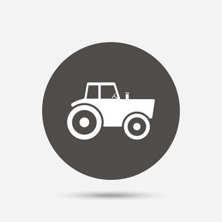 tractor sign: Tractor sign icon. Agricultural industry symbol. Gray circle button with icon. Vector