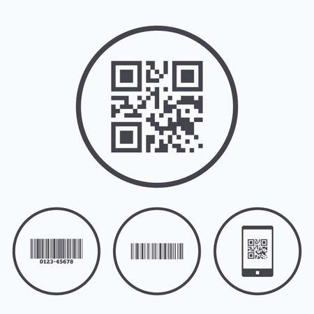 Bar and Qr code icons. Scan barcode in smartphone symbols. Icons in circles. Illustration