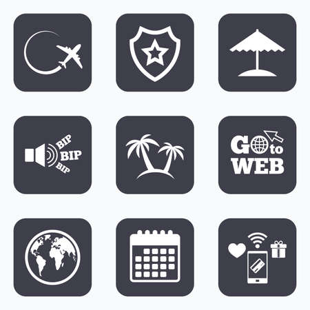 airplane world: Mobile payments, wifi and calendar icons. Travel trip icon. Airplane, world globe symbols. Palm tree and Beach umbrella signs. Go to web symbol. Illustration