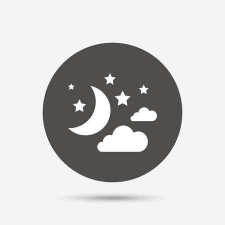 Moon, clouds and stars icon. Sleep dreams symbol. Night or bed time sign. Gray circle button with icon. Vector Stock Illustratie